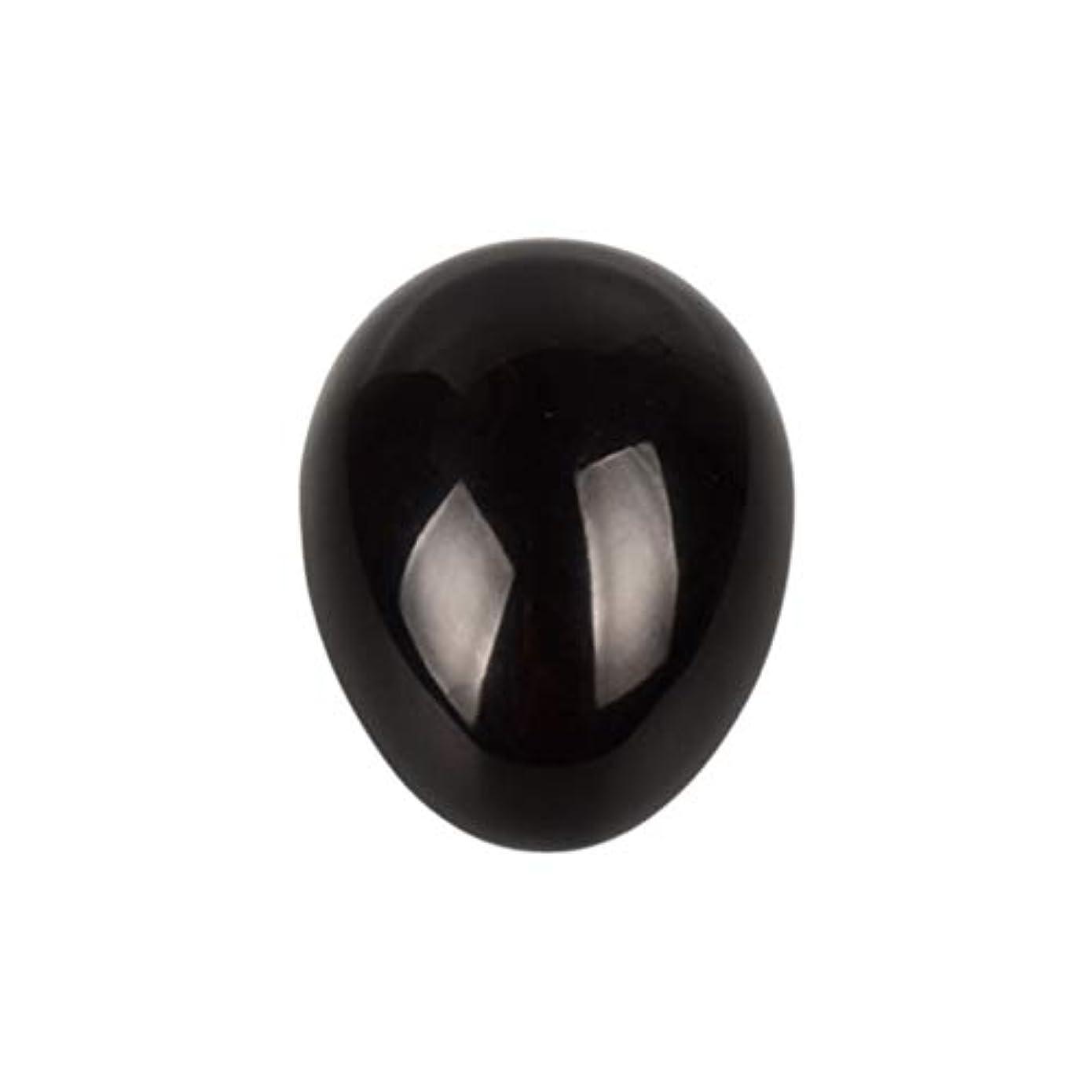 認識衣装測定Healifty 癒しの瞑想のための黒い黒曜石の宝石の卵球チャクラのバランスと家の装飾45 * 30 * 30ミリメートル