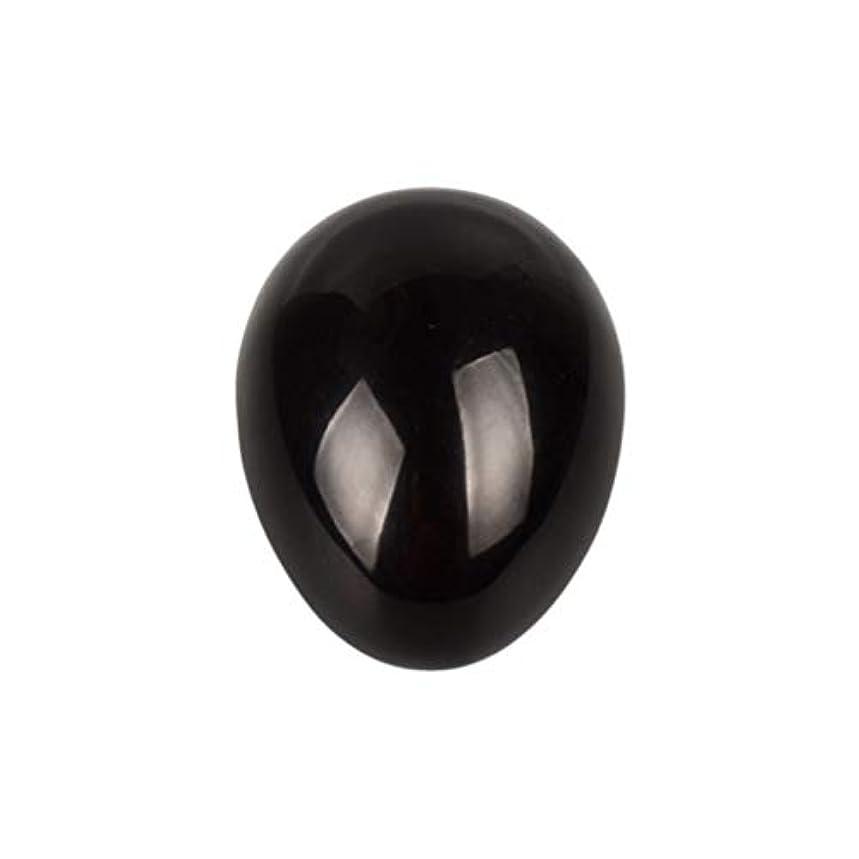 祝うパーティション嫌がらせHealifty 癒しの瞑想のための黒い黒曜石の宝石の卵球チャクラのバランスと家の装飾45 * 30 * 30ミリメートル