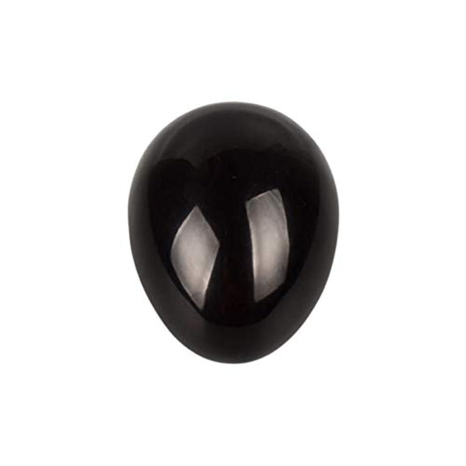 にんじん争い楕円形Healifty 癒しの瞑想のための黒い黒曜石の宝石の卵球チャクラのバランスと家の装飾45 * 30 * 30ミリメートル