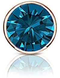 14 Kゴールドメンズbezel-setラウンドブルーダイヤモンドシングルスタッドイヤリング( 1 / 8 – 1 CT、ブルー、i1 - i2 ) push-back