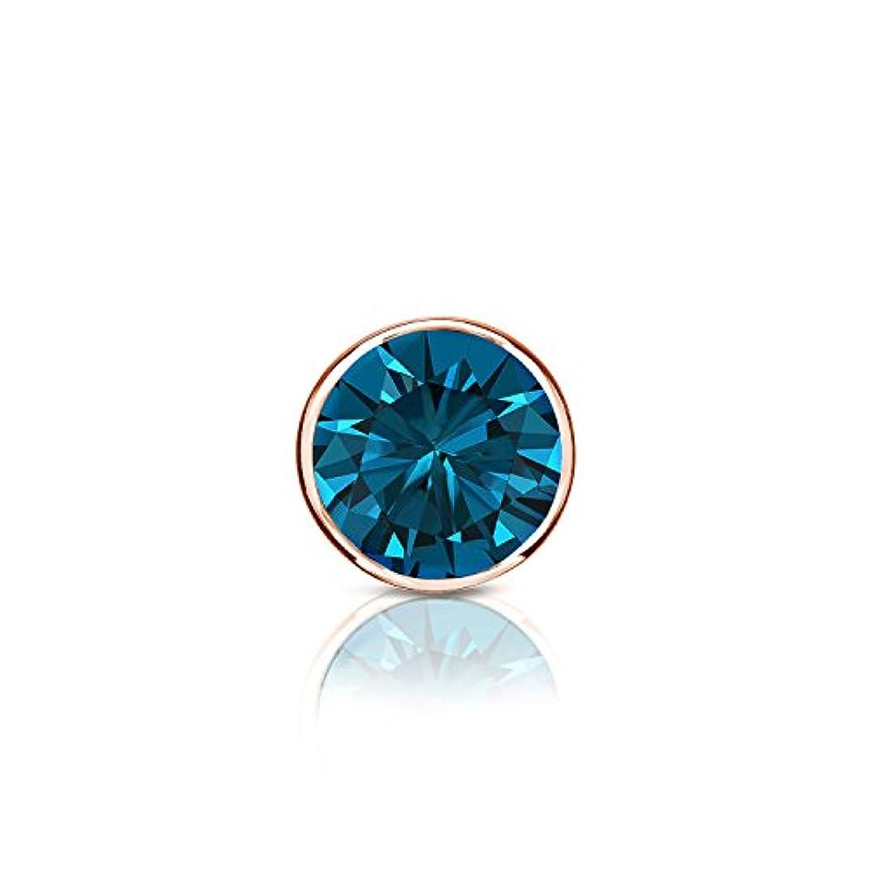 王女思い出させる見分ける14 Kローズゴールドbezel-setラウンドブルーダイヤモンドシングルスタッドイヤリング( 1 / 8 – 1 CT、ブルー、i1 - i2 ) push-back