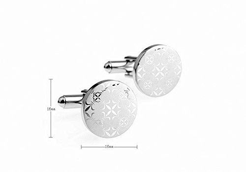 MFYS Jewelry 円形 雪 フレーク 雪の結晶 紳士 カフス(カフスボタン・カフリンクス)【専用収納ケース付き】