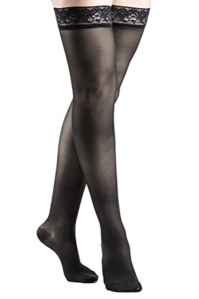 図普通の艦隊Women's Sheer Fashion 15-20 mmHg Closed Toe Thigh High Sock Size: B, Color: Black 99 by Sigvaris