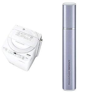 シャープ 全自動洗濯機 ステンレス穴なし槽 6kg ホワイト系 ES-GE6B-W 超音波ウォッシャー バイオレット系 セット