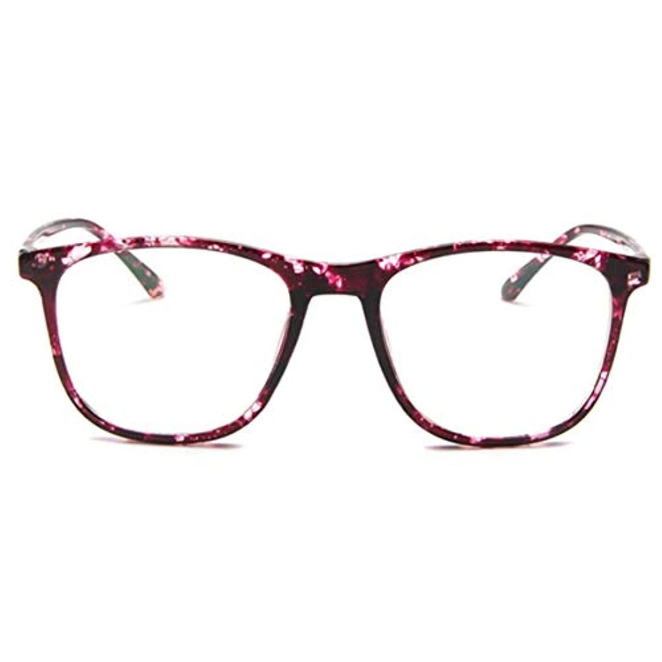 国表面処分した韓国の学生のプレーンメガネ男性と女性のファッションメガネフレーム近視メガネフレームファッショナブルなシンプルなメガネ-紫-