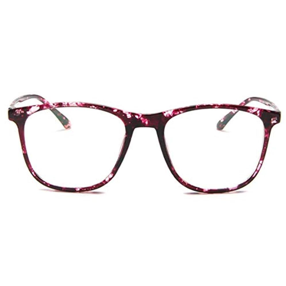 頬骨資金乱す韓国の学生のプレーンメガネ男性と女性のファッションメガネフレーム近視メガネフレームファッショナブルなシンプルなメガネ-パープル