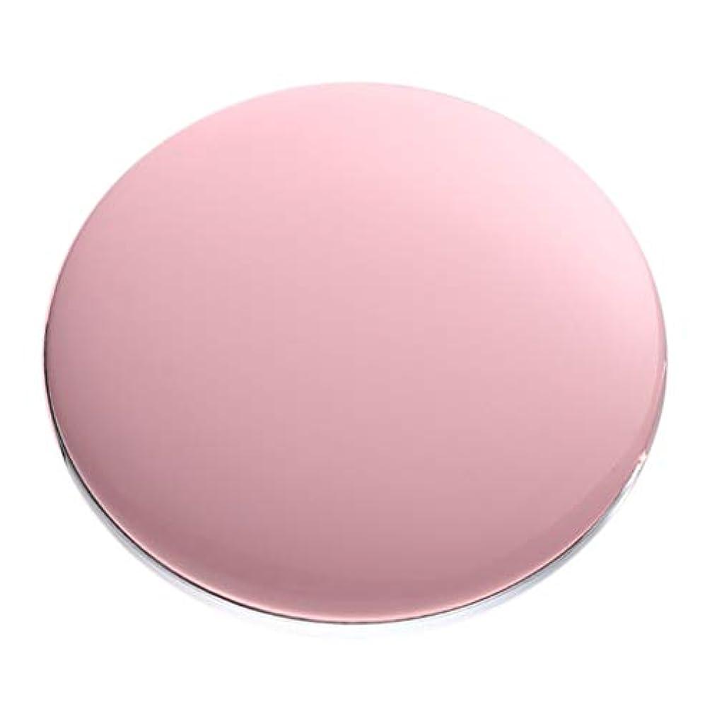 音節ブルゴーニュ敏感なコンパクトミラー 拡大鏡付き 3倍 LED付き 化粧鏡 携帯ミラー 化粧鏡 手持式 持ち運び 全5色 - ピンク