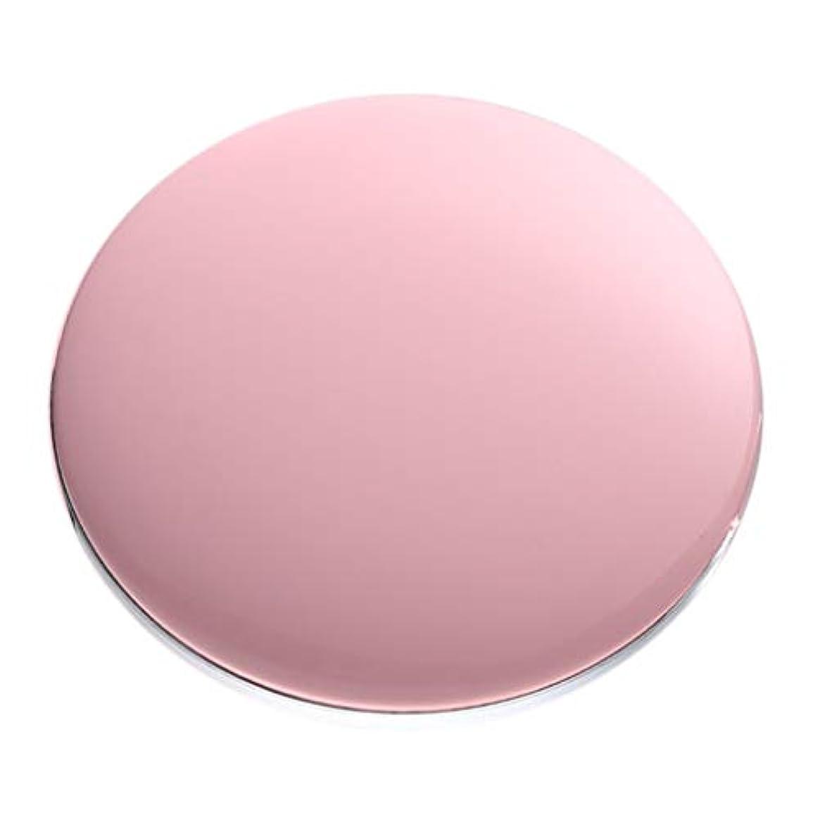 裏切り者思慮深いコンパクトミラー 拡大鏡付き 3倍 LED付き 化粧鏡 携帯ミラー 化粧鏡 手持式 持ち運び 全5色 - ピンク
