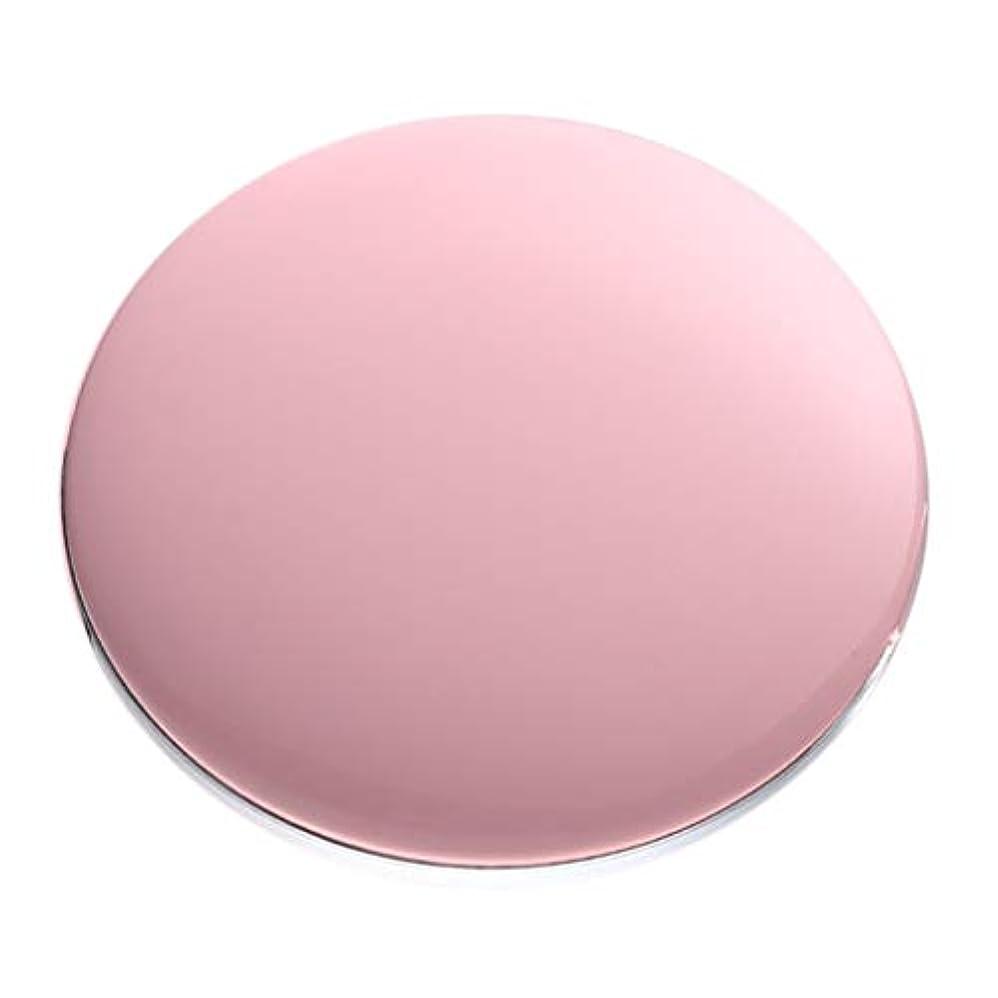 脊椎カードジョガーコンパクトミラー 拡大鏡付き 3倍 LED付き 化粧鏡 携帯ミラー 化粧鏡 手持式 持ち運び 全5色 - ピンク