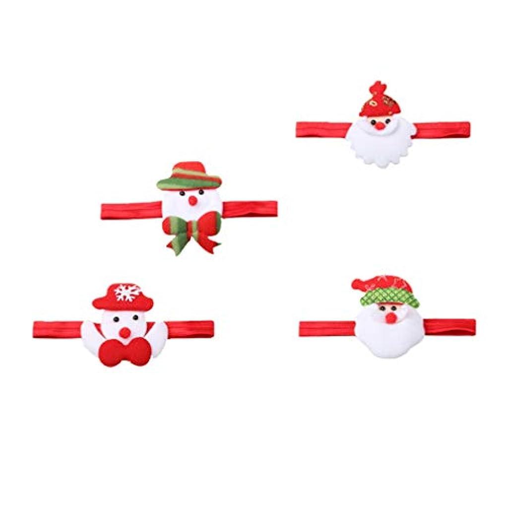 作曲家積極的に復活Lurrose クリスマスサンタカチューシャ雪だるまヘアバンド漫画サンタクロース頭飾り用クリスマスホリデーパーティー4ピース
