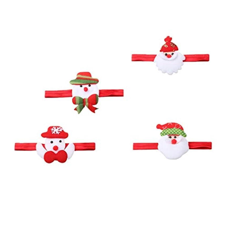 起訴するフォアタイプ制裁Lurrose クリスマスサンタカチューシャ雪だるまヘアバンド漫画サンタクロース頭飾り用クリスマスホリデーパーティー4ピース
