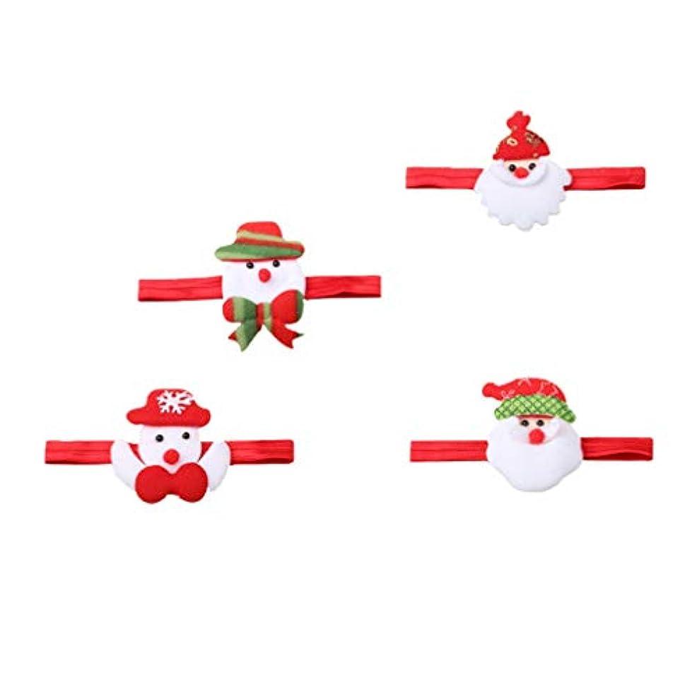 抜け目がない送信するサワーLurrose クリスマスサンタカチューシャ雪だるまヘアバンド漫画サンタクロース頭飾り用クリスマスホリデーパーティー4ピース