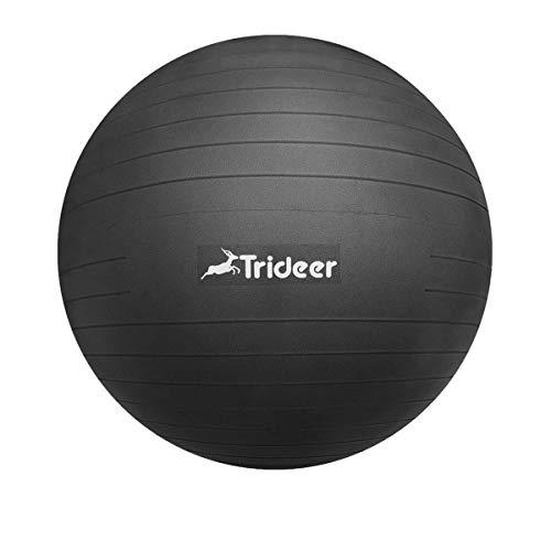 Trideer バランスボール 55 65 75 cm (ブラック, 65 cm)