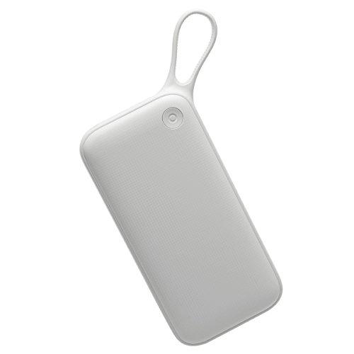 モバイルバッテリー 大容量 Baseus 携帯充電器 20000mAh 急速充電 QC 3.0 2入力ポート 3台同時充電可 手持ちストラップ付き 持ち運び便利 MicroUSBケーブル付き iPhone / iPad / Android / Nintendo Switch / ノードパソコン等全機種対応 出張 旅行 防災用 (ホワイト)