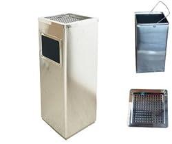 ゴミ箱付き灰皿A-083H、業務用ゴミ箱(シルバー)、スタンド灰皿、屋外灰皿、喫煙所、スタンド型灰皿、屋外用灰皿、べランダ、ごみ箱、業務用ごみ箱、灰皿付きゴミ箱