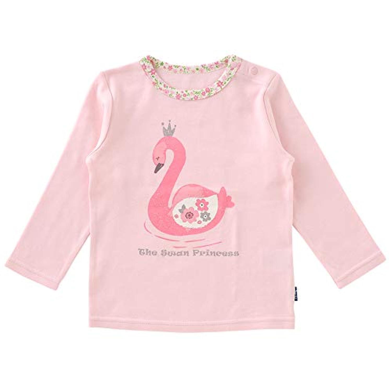 (チャックルベビー) chuckle BABY 白鳥 花柄 長袖Tシャツ 80cm 白鳥柄 P3466-80-20