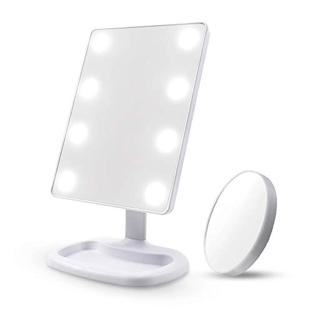 白鳥差別消去Diolan 化粧鏡 女優ミラー 8個大きのLED付き 角度調節可能 10倍拡大鏡付き