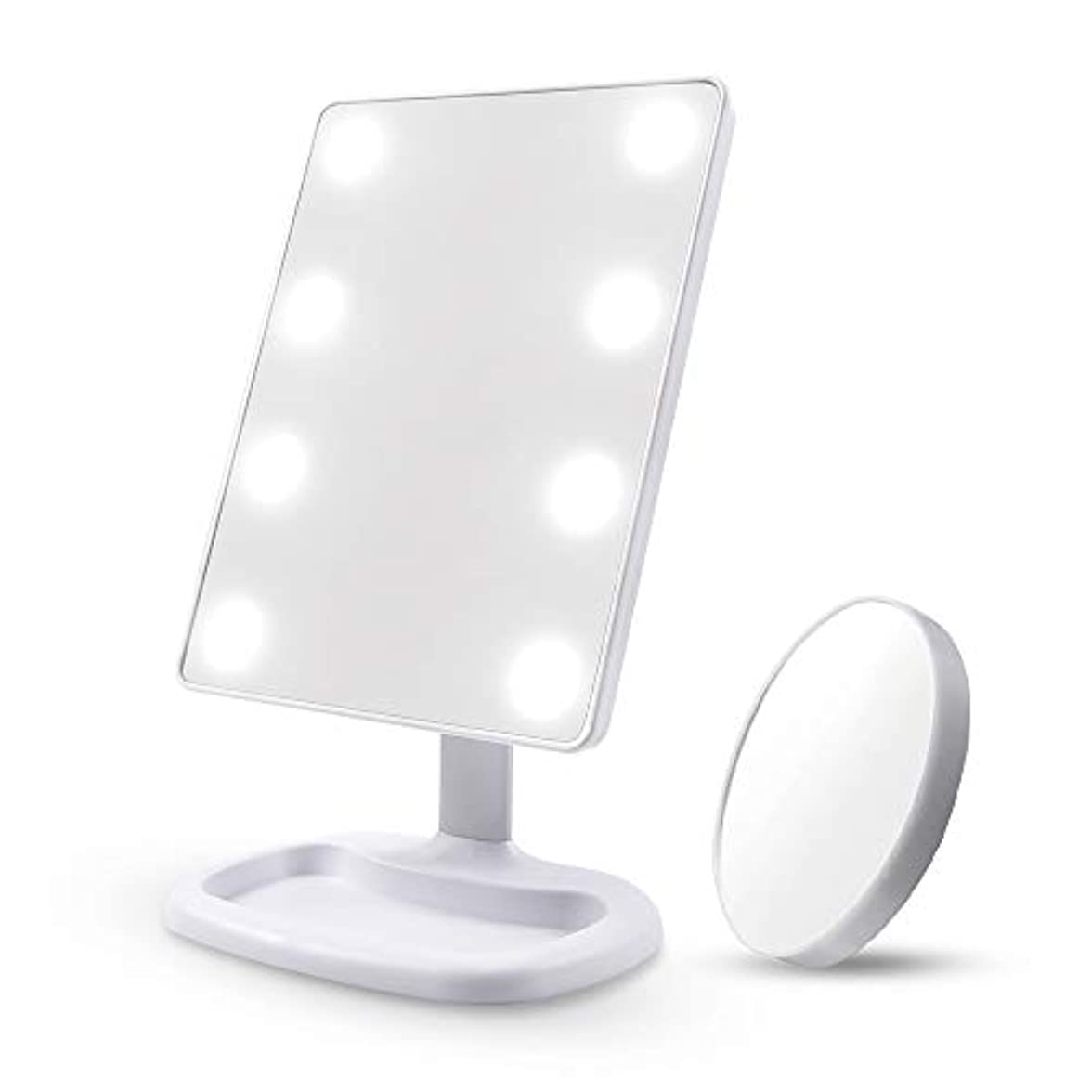 ネーピアフォアマン証書Diolan 化粧鏡 女優ミラー 8個大きのLED付き 角度調節可能 10倍拡大鏡付き