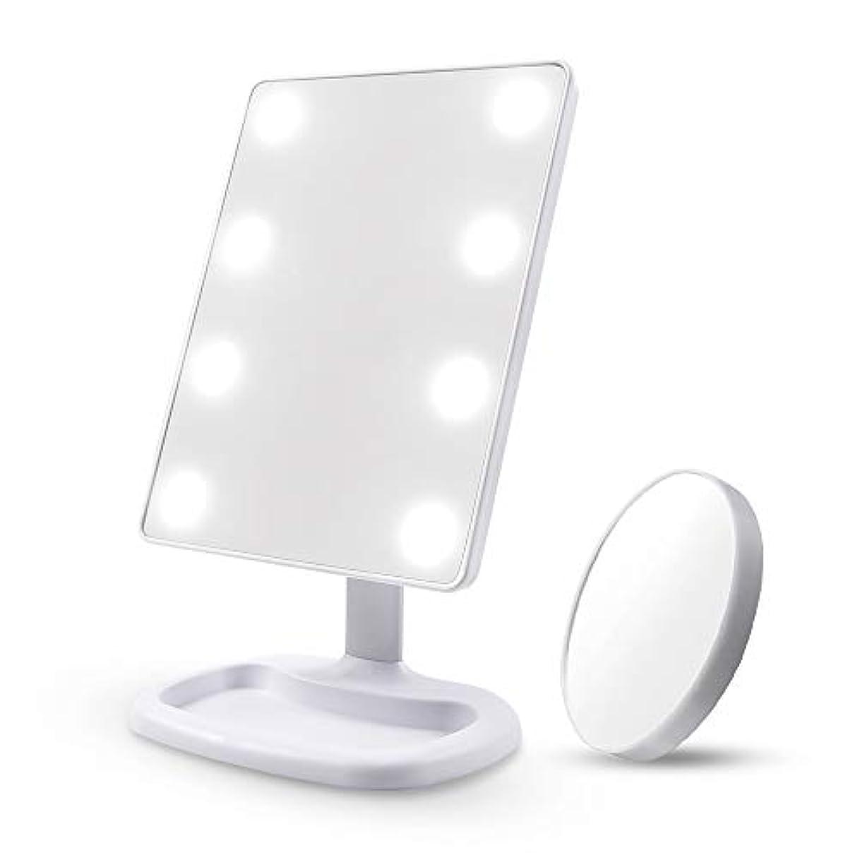 啓示ハンサムライバルDiolan 化粧鏡 女優ミラー 8個大きのLED付き 角度調節可能 10倍拡大鏡付き