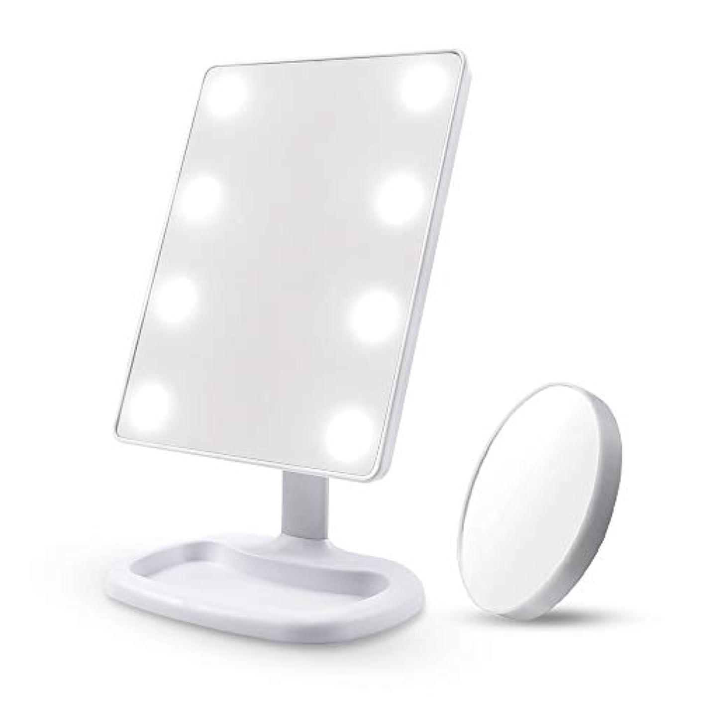 命令おとなしい読み書きのできないDiolan 化粧鏡 女優ミラー 8個大きのLED付き 角度調節可能 10倍拡大鏡付き