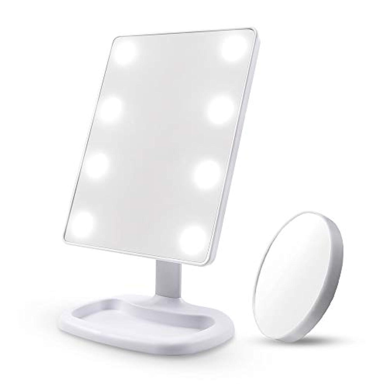 くるみ尽きるハードDiolan 化粧鏡 女優ミラー 8個大きのLED付き 角度調節可能 10倍拡大鏡付き