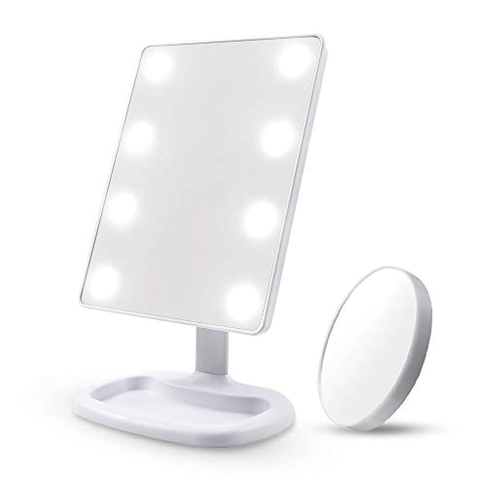 虫ボイド無しDiolan 化粧鏡 女優ミラー 8個大きのLED付き 角度調節可能 10倍拡大鏡付き