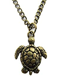ブロンズ亀ネックレス、Turtleネックレス、Tortoiseネックレス、動物ネックレス、ビーチネックレス、ビーチ、動物