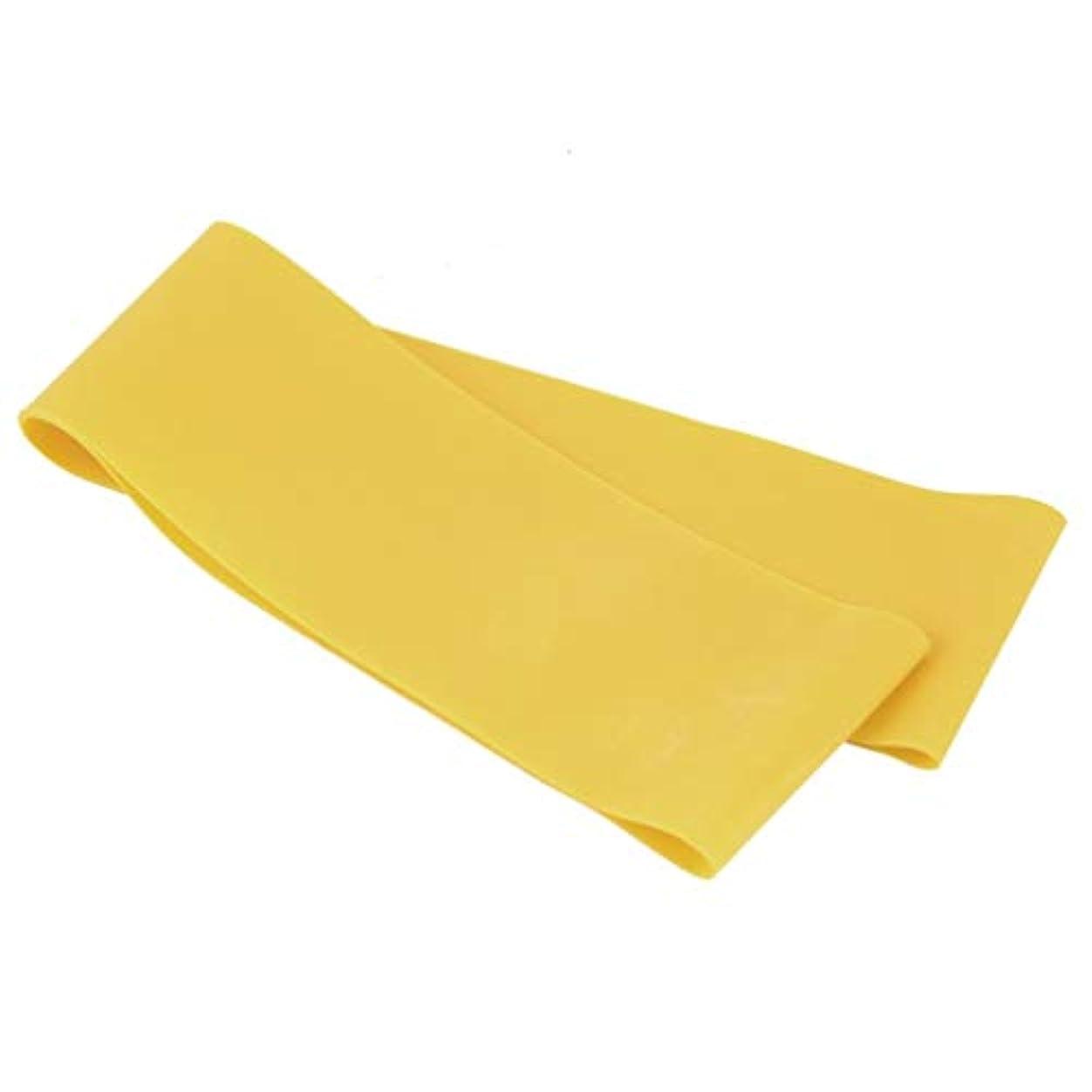 見えるピービッシュ反逆滑り止めの伸縮性のあるゴム製伸縮性があるヨガのベルトバンド引きロープの張力抵抗バンドループ強さのためのフィットネスヨガツール - 黄色