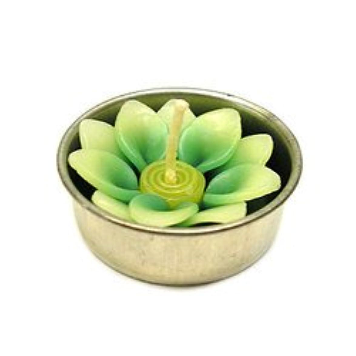 メイエラ美的短命アロマキャンドル  ミニ ロータス グリーン 鉄の器入り 器直径4cm アジアン雑貨