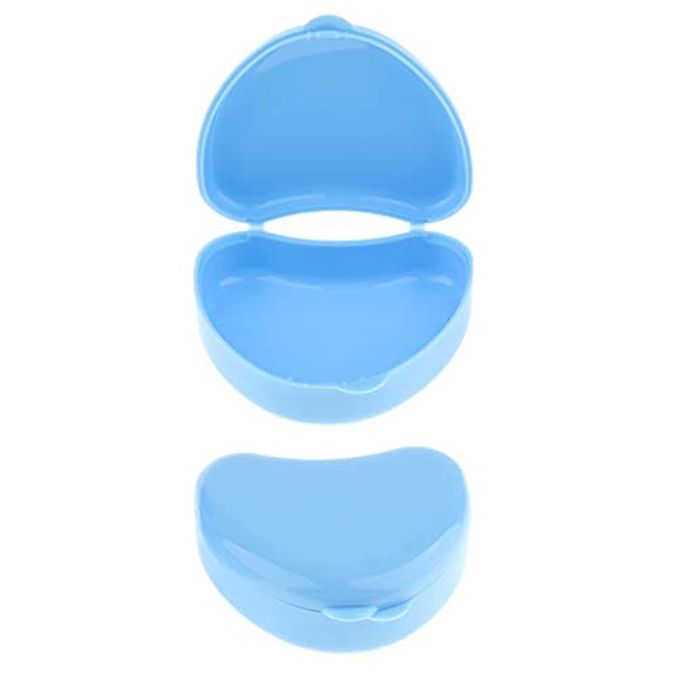 簡単なライトニング米国2個 ミニ 義歯ケース 義歯収納容器 リテーナーポケット ハート型 入れ歯ボックス 全3色 - 青