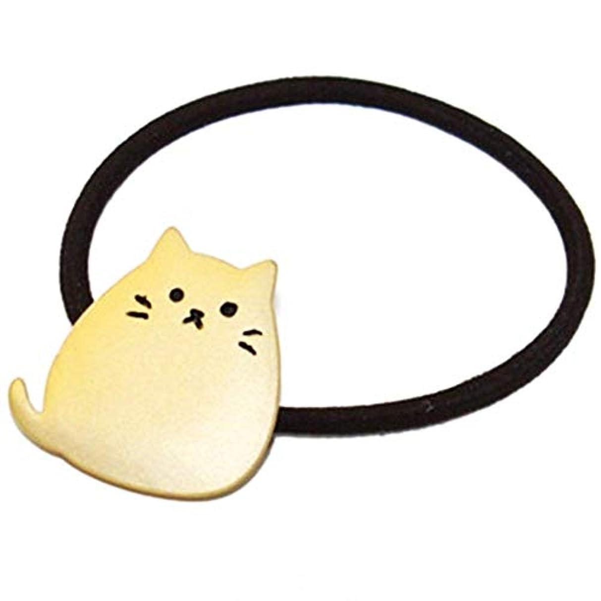 Onior ヘアロープ 弾性 リボン 髪飾り ヘアネクタイ 猫形 金属 メッキ 1ピース ゴールデン