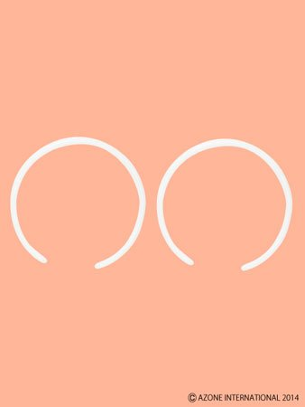 1/6用プラスティックカチューシャ(二個セット) ホワイト(ドール用衣装)