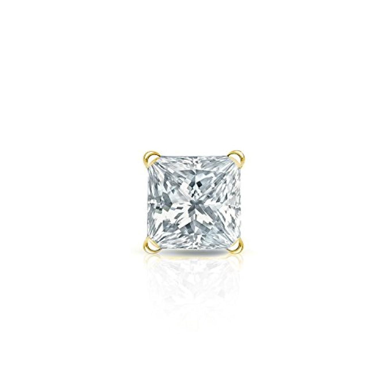 壁紛争食物14 Kゴールド4プロングMartiniプリンセスダイヤモンドシングルスタッドイヤリング( 1 / 8 – 1 CT、ホワイト、si1-si2 ) securelockbackdisc