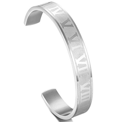 Jstyle[ジェイスタイル] ローマ数字 メンズ バングル ブレスレット ステンレス製 腕輪 シルバー色