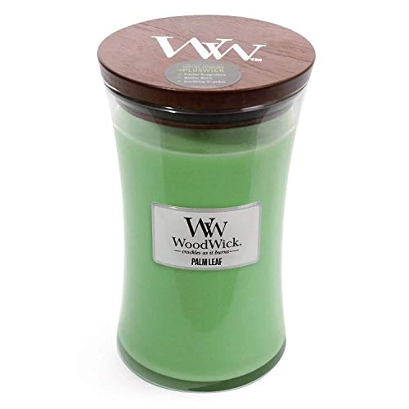 まもなく灰論争の的Palm Leaf WoodWick 22 oz Large砂時計Jar Candle Burns 180時間