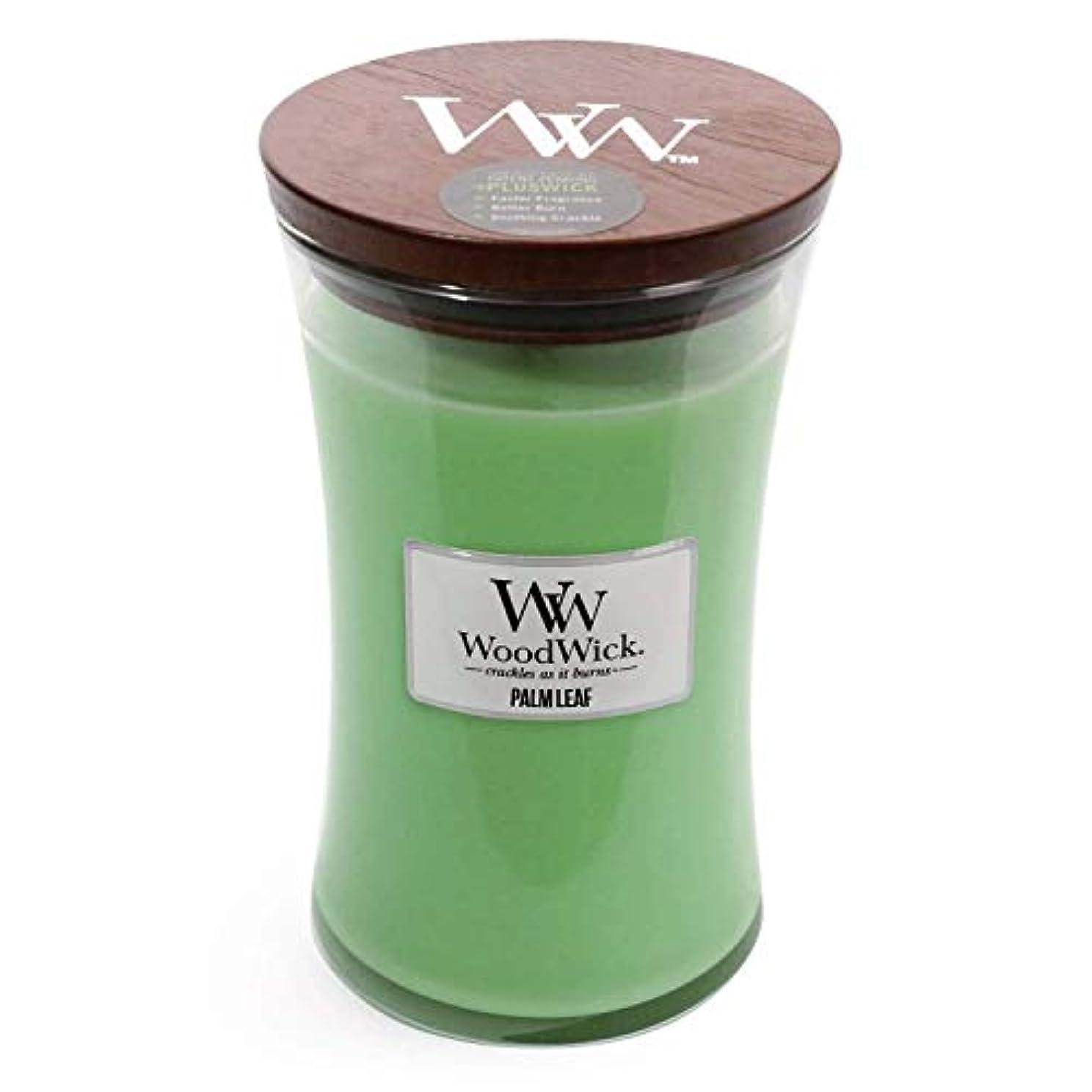 発掘するやけど生命体Palm Leaf WoodWick 22 oz Large砂時計Jar Candle Burns 180時間