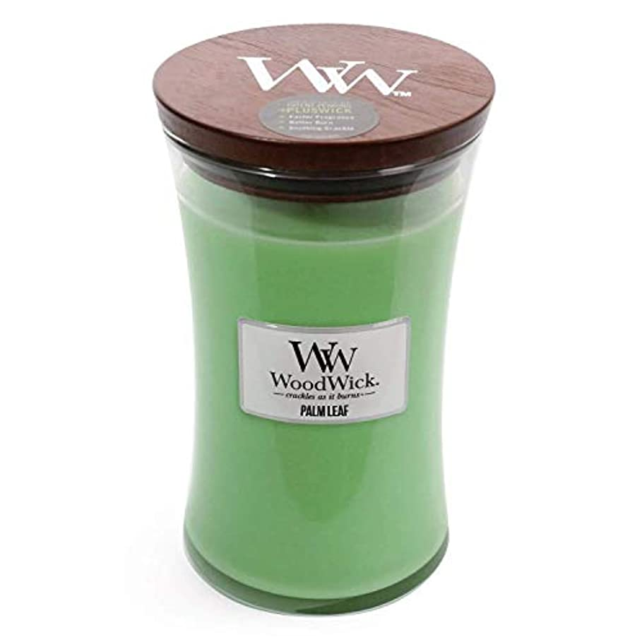 そこ怠感マイナーPalm Leaf WoodWick 22 oz Large砂時計Jar Candle Burns 180時間