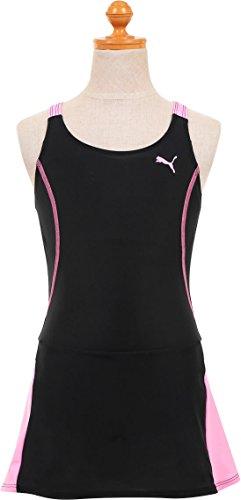 (プーマ)PUMA ガールズ スカート ワンピース スクール水着140cm ブラック×ピンク