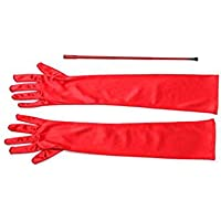 Red Extendable Cigarette Holder and Long Satin Glove Costume Accessory Set