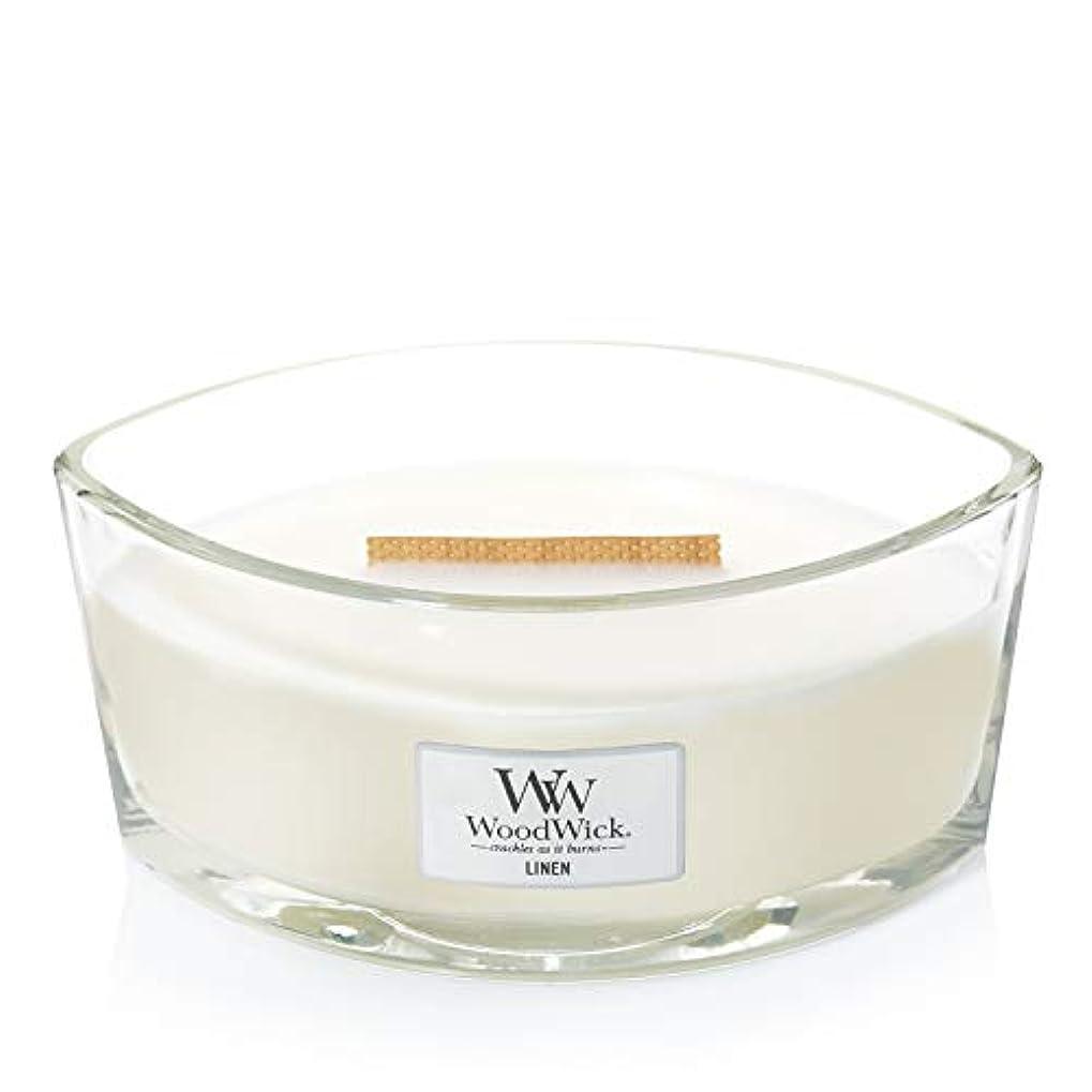 とんでもない賢明な一時解雇する(11.4cm l x 19cm w x 8.8cm h) - WoodWick 76135 Linen HearthWick Candle, White