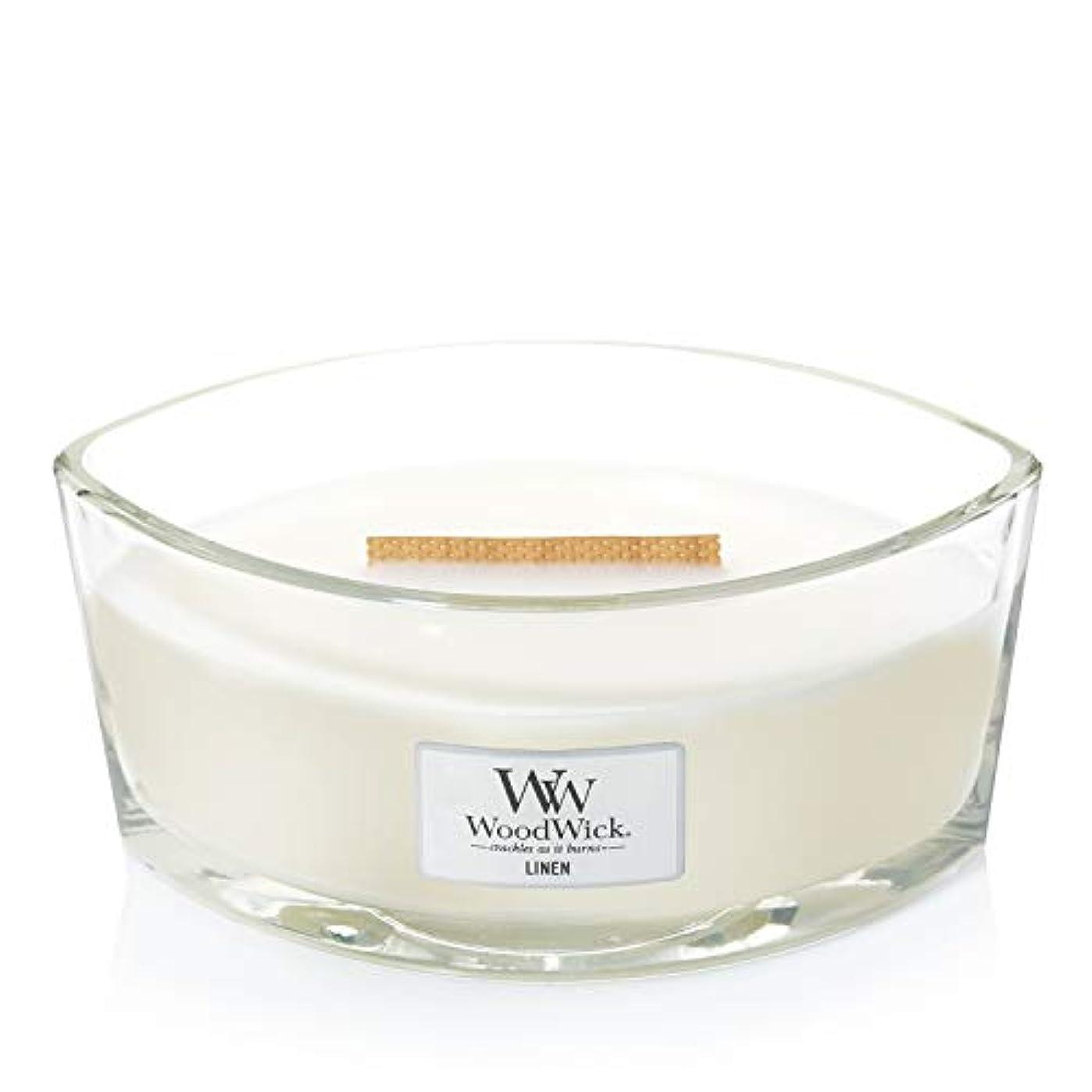円形のランタンスカリー(11.4cm l x 19cm w x 8.8cm h) - WoodWick 76135 Linen HearthWick Candle, White