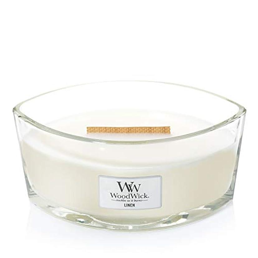 (11.4cm l x 19cm w x 8.8cm h) - WoodWick 76135 Linen HearthWick Candle, White