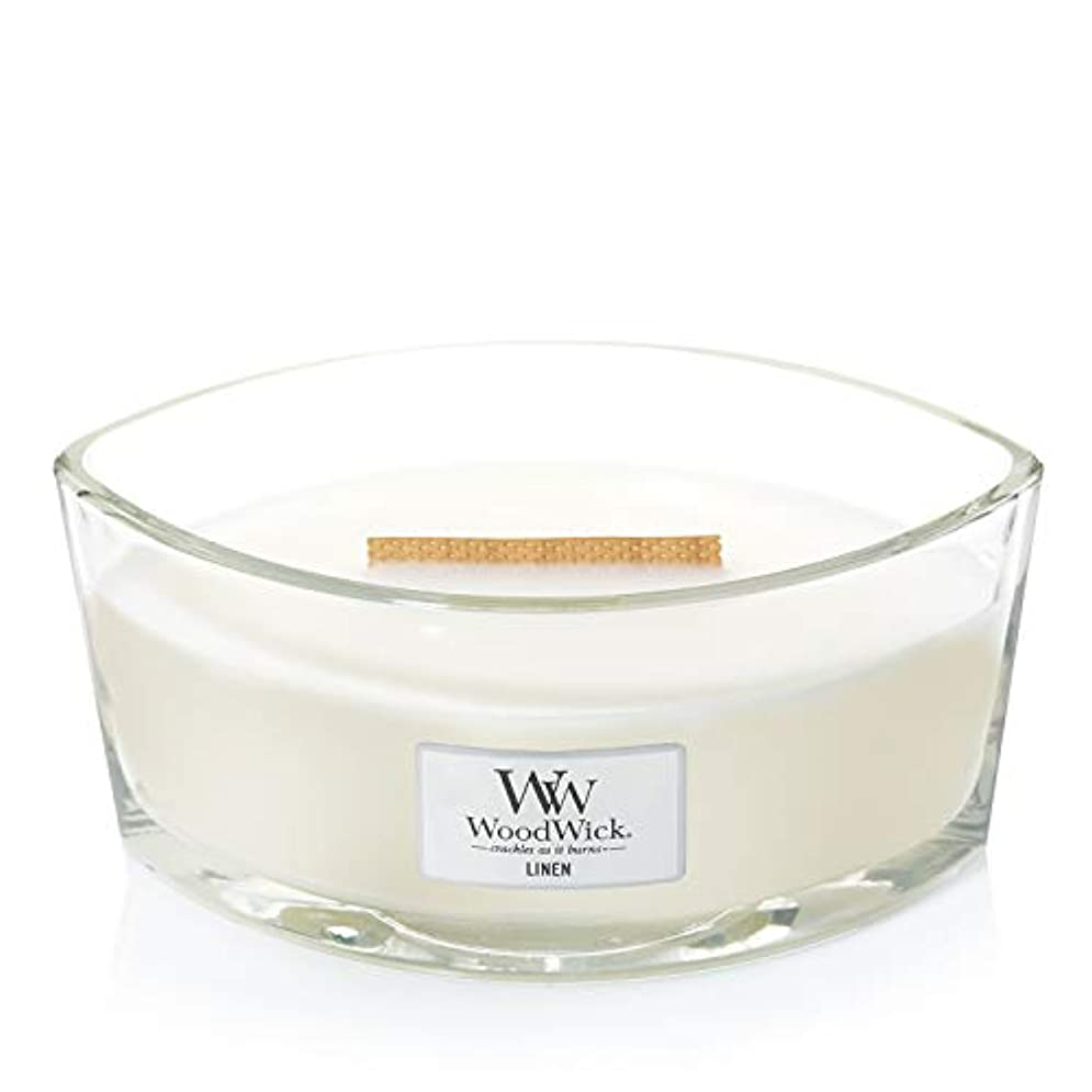 慣らすレイア中庭(11.4cm l x 19cm w x 8.8cm h) - WoodWick 76135 Linen HearthWick Candle, White
