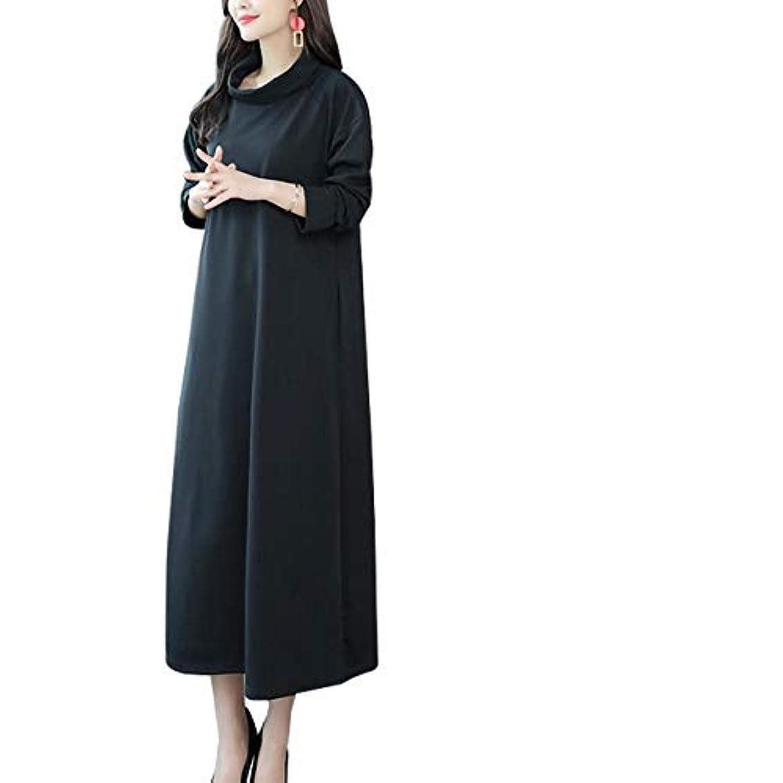 復活被る要件[ココチエ] ワンピース 黒 シンプル ひざ丈 上品 大きい ゆったり