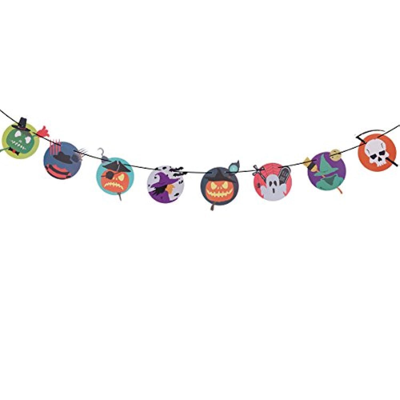 ハロウィンガーランドドットハロウィンテーマ魔女ゴーストパンプキンスカル用紙Bunting Decoration Hanging Paperチェーンバナーホームバーパーティー装飾
