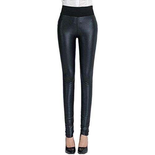 Zhhlaixing ファッション Plus Velvet Cashmere PU leather Pants レギンスパンツ Thicken Warm Leggings Stretch for Women Girls