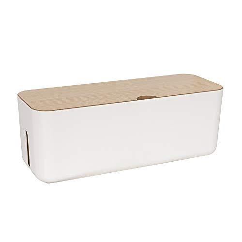 Calife 北欧インテリア 電源タップ & ケーブルボックス テーブルタップ収納ボックス 天然木&樹脂製 (白/ホワイト)