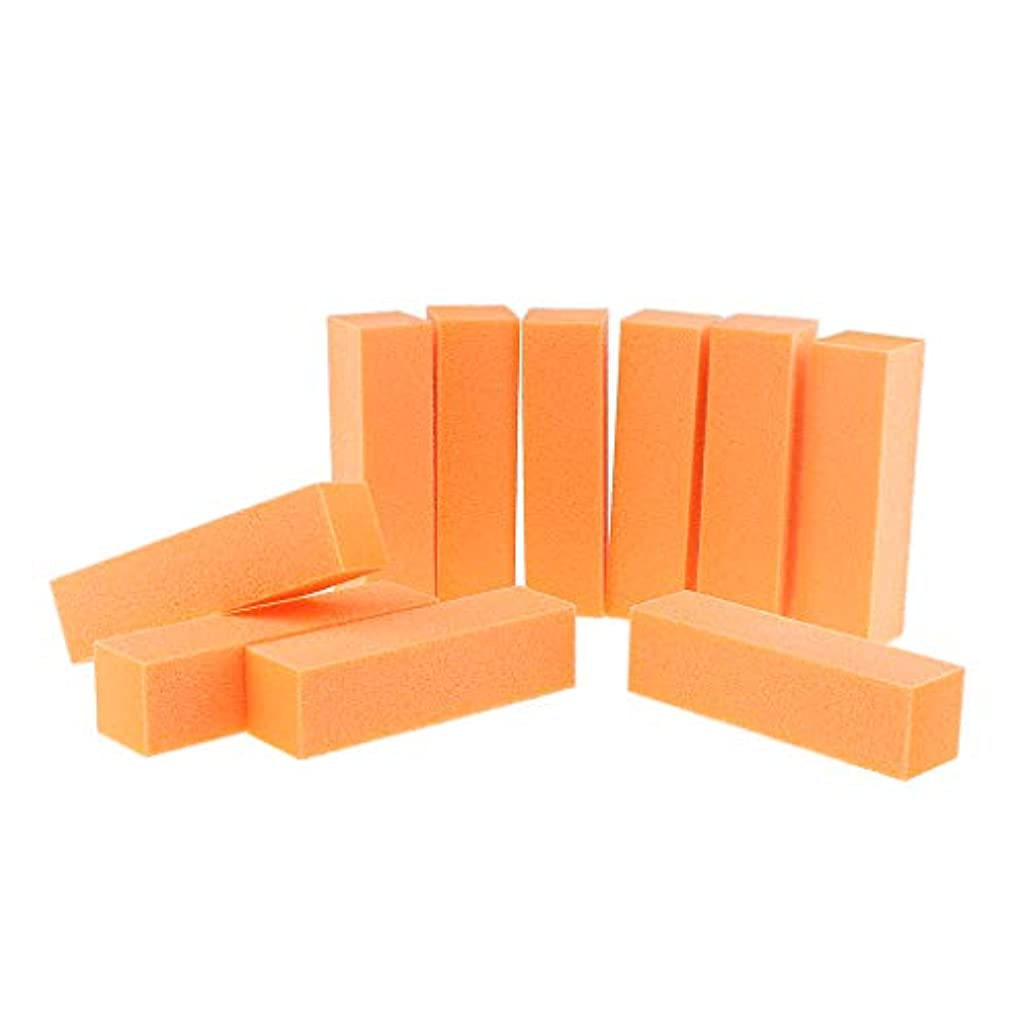 毒ファブリック監督する10PCSネイルアートケアバッファーバフ研磨サンディングブロックファイルグリットアクリルマニキュアツール-プロフェッショナルサロン使用または家庭用 - オレンジ