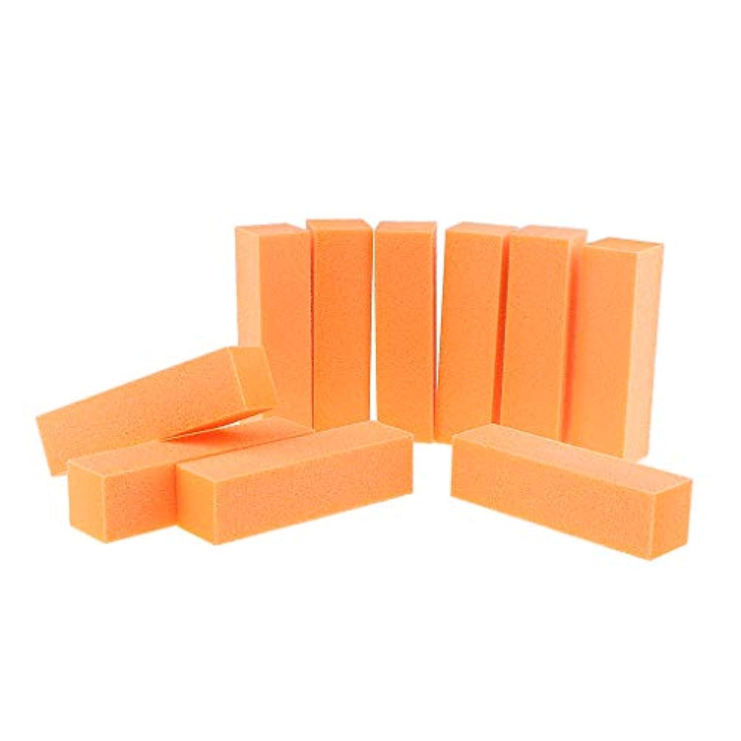 線代理店飼いならす10PCSネイルアートケアバッファーバフ研磨サンディングブロックファイルグリットアクリルマニキュアツール-プロフェッショナルサロン使用または家庭用 - オレンジ
