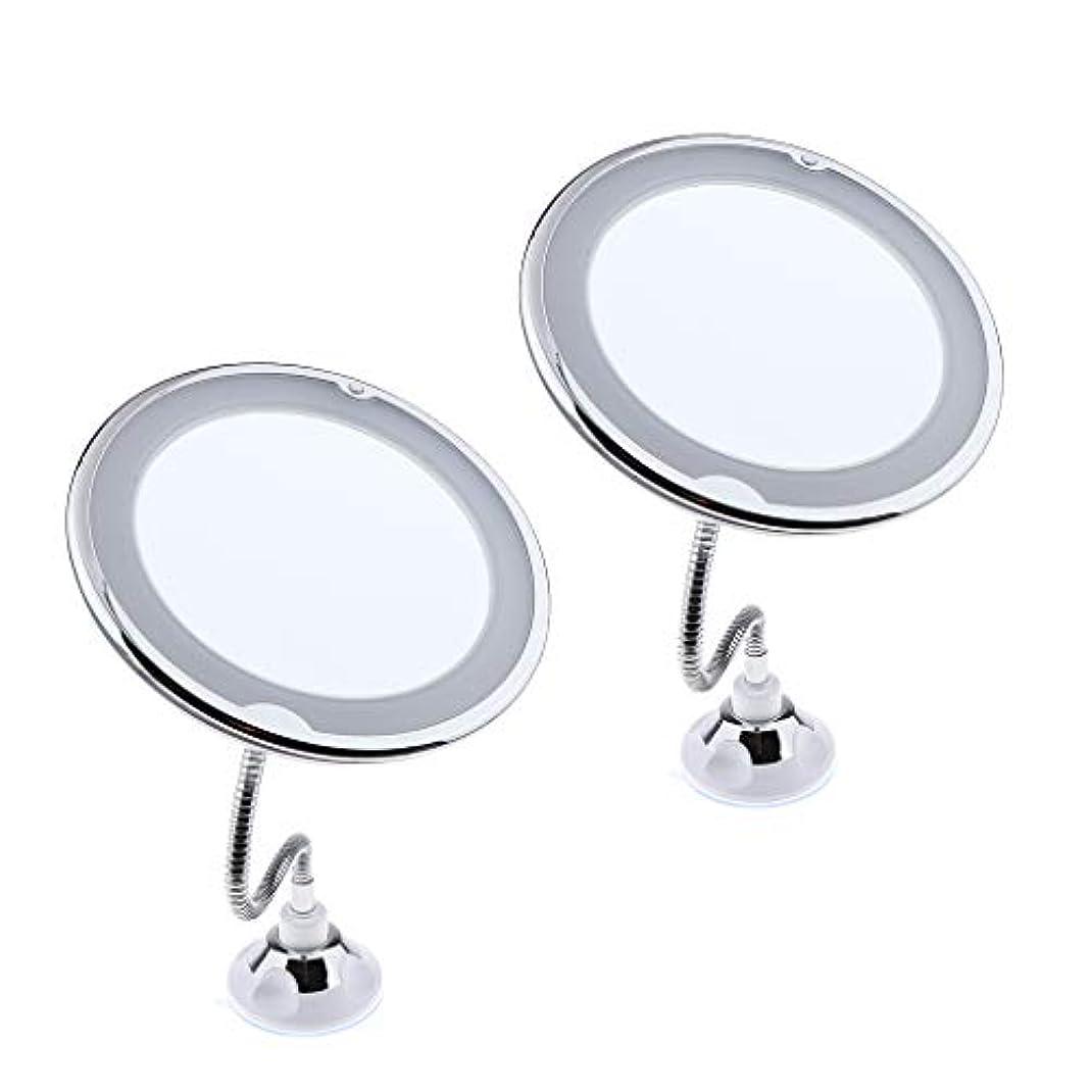 普通の大惨事セーブP Prettyia 2個 柔軟 グースネック 10倍拡大 照明付き バスルーム 化粧鏡 ミラー